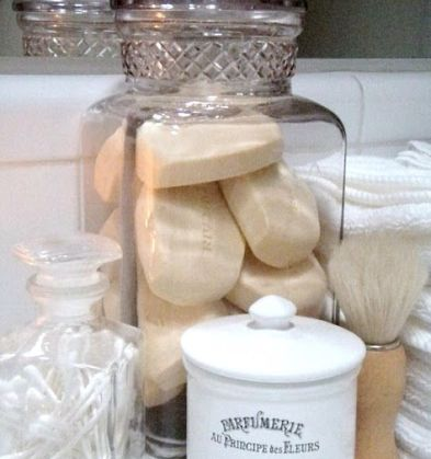 Store Soap, Qtips etc in a jar ~ This is how I have always stored my hand Soaps and Q-tips ~ Love: