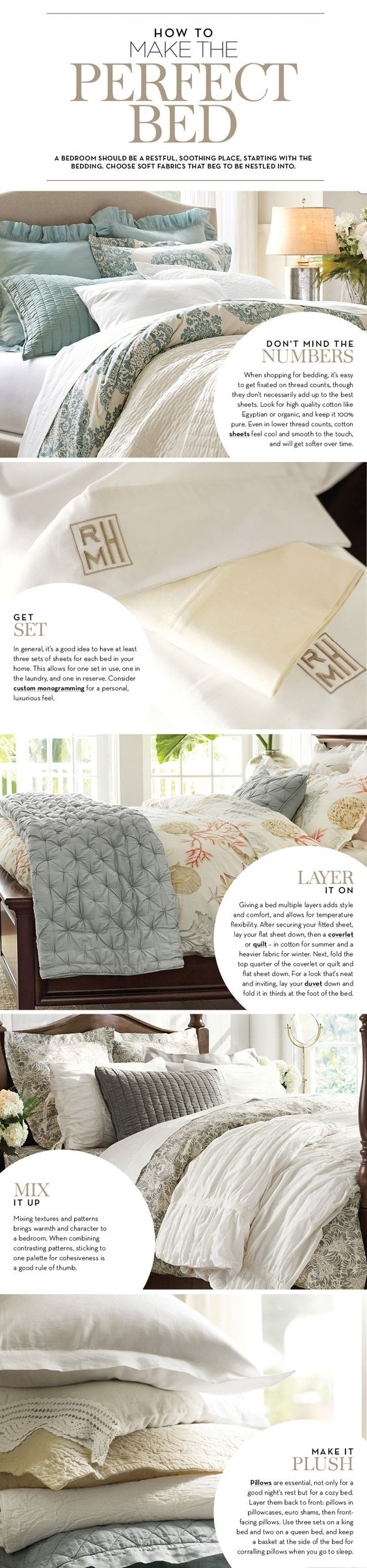 How to Make the Perfect Bed | Pottery Barn. Tip: it's a good idea to have 3 sets of sheets for every bed in your house.: