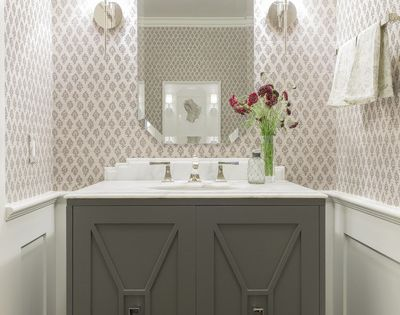 custom vanity, wainscoting, wallpaper, sconces | Powder ...