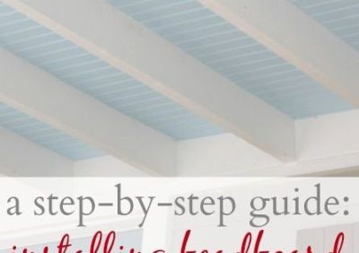 a step-by-step guide to installing beadboard on the ceiling in between ceiling joists, this ...