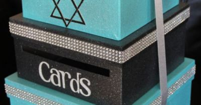 Custom Card Box, Bat Mitzvah, 3 Tier, Card Holder, Square, Teal and Black, Glitter and Sparkle ...