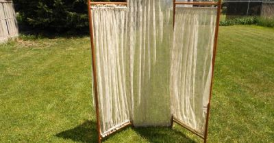 Antique Lace Victorian 3 Panel Oak Stick and Ball Dressing Room Divider Screen   DIY/I can make ...