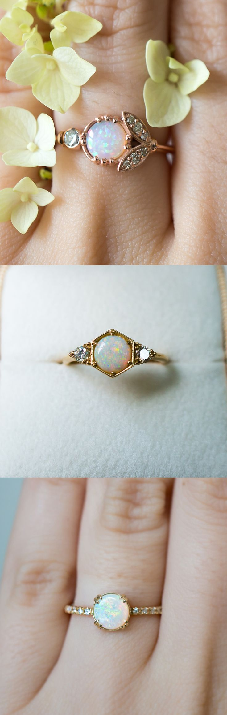 simple vintage rings antique style wedding bands Unique vintage inspired Opal engagement rings by S Kind Co