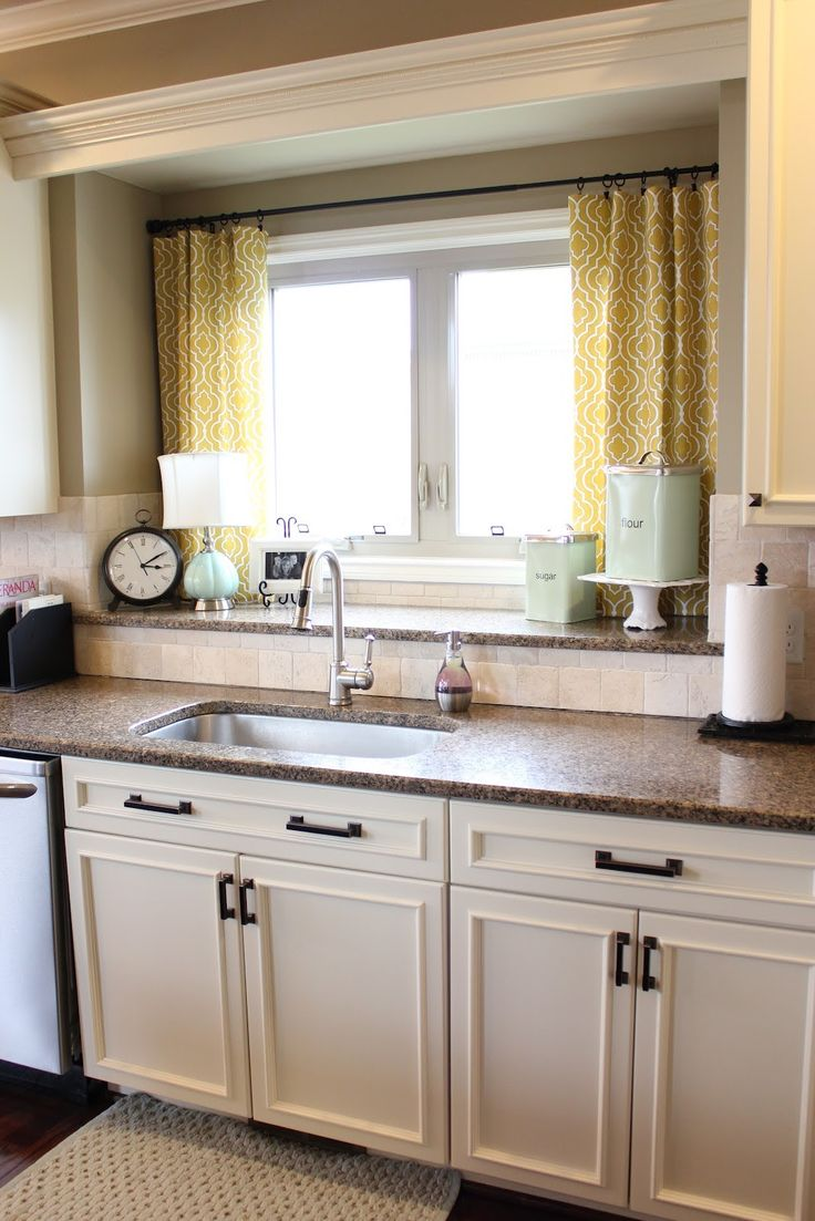 kitchen window curtains kitchen window ideas Nifty Kitchen Window Treatment Idea also LOVE the double window sill for storage