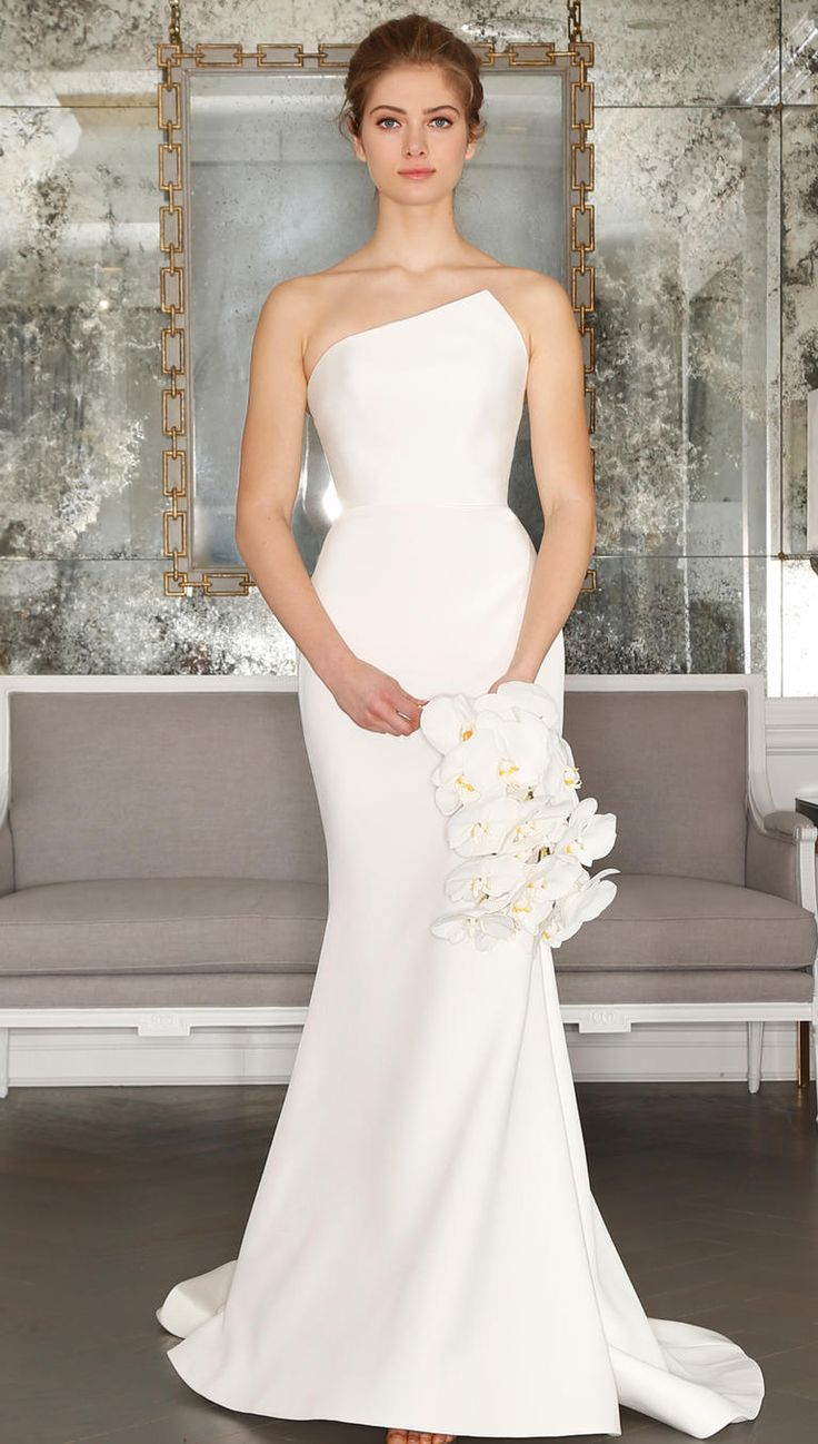 asymmetrical wedding dresses all white wedding dress Romona Keveza s Spring Collection Is All About Feminine Florals Classy Wedding DressWhite