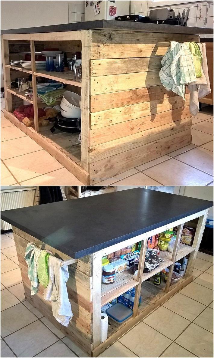 pallet kitchen island install kitchen island Awesome Accomplishments with Pallets Pallet Kitchen Island