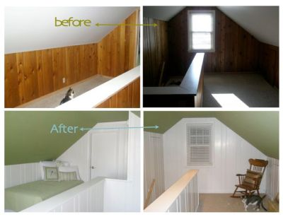 Painting Over Wood Paneling Before and After | painted wood paneling, before/after | Ideas for ...