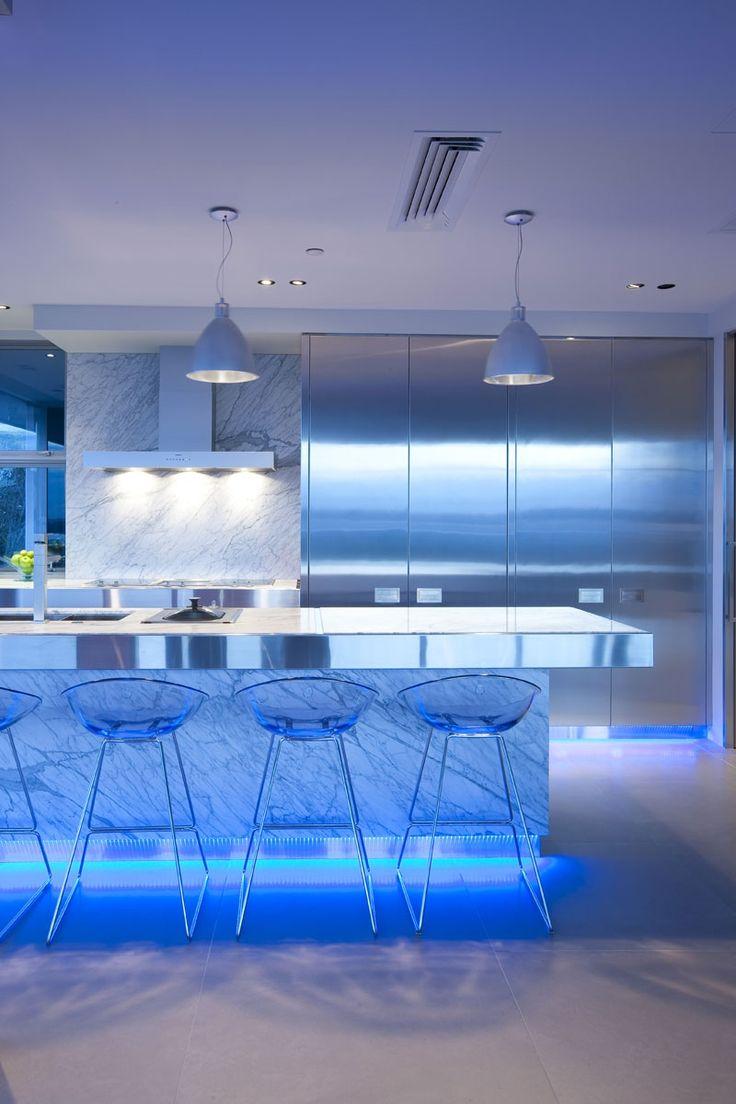 light emotions contemporary kitchen lighting Led Modern Kitchen Lighting Design Ideas blue highlighted modern kitchen