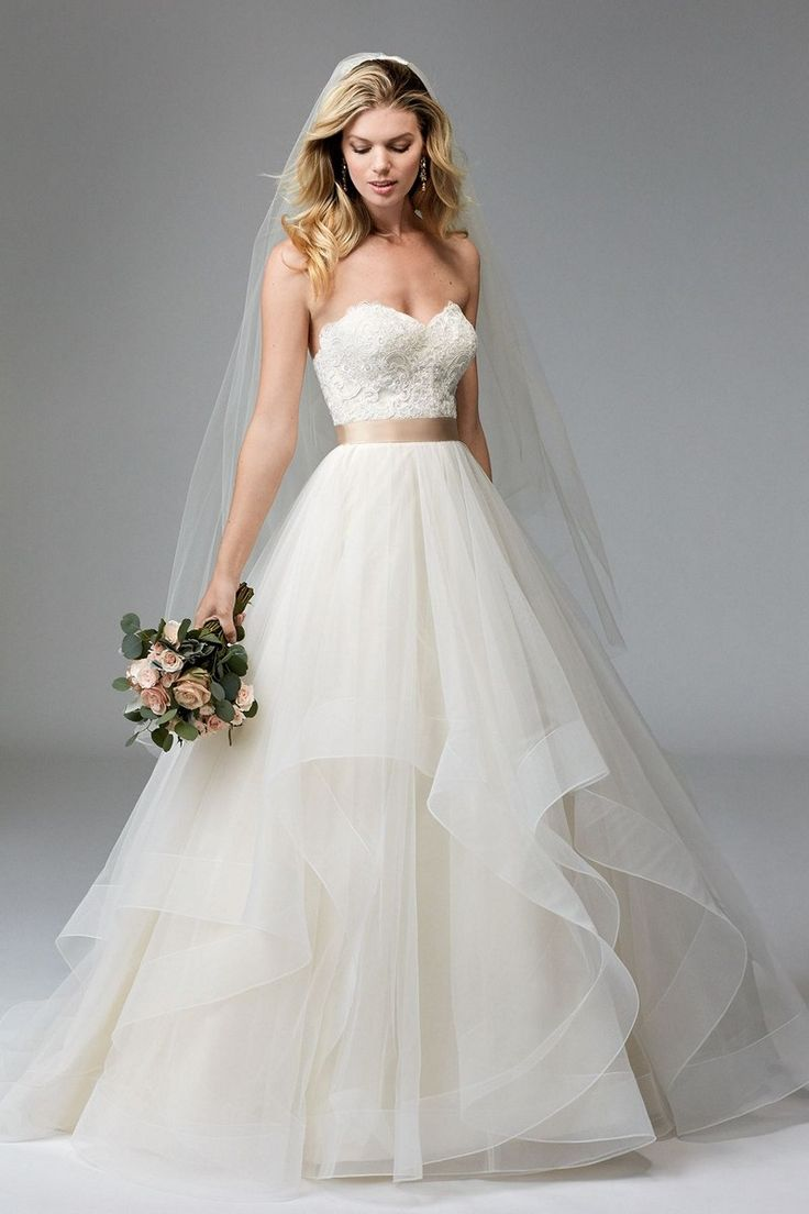 sweetheart wedding dress sweetheart neckline wedding dress Lace adorns the strapless bodice of this WTOO Rowena tulle wedding dress with a