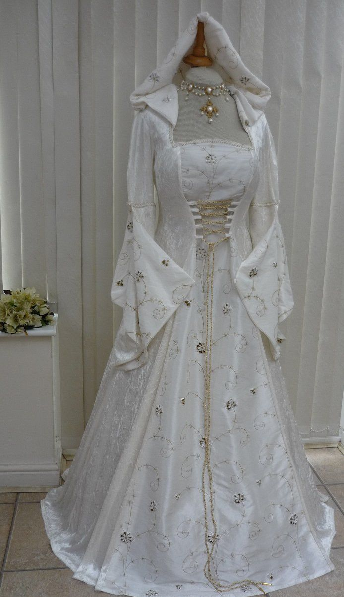medieval wedding ideas medieval wedding dress Medieval and Renaissance Wedding Dresses Ivory Medieval Renaissance Hooded Wedding Dress Pagan Dawns Medieval
