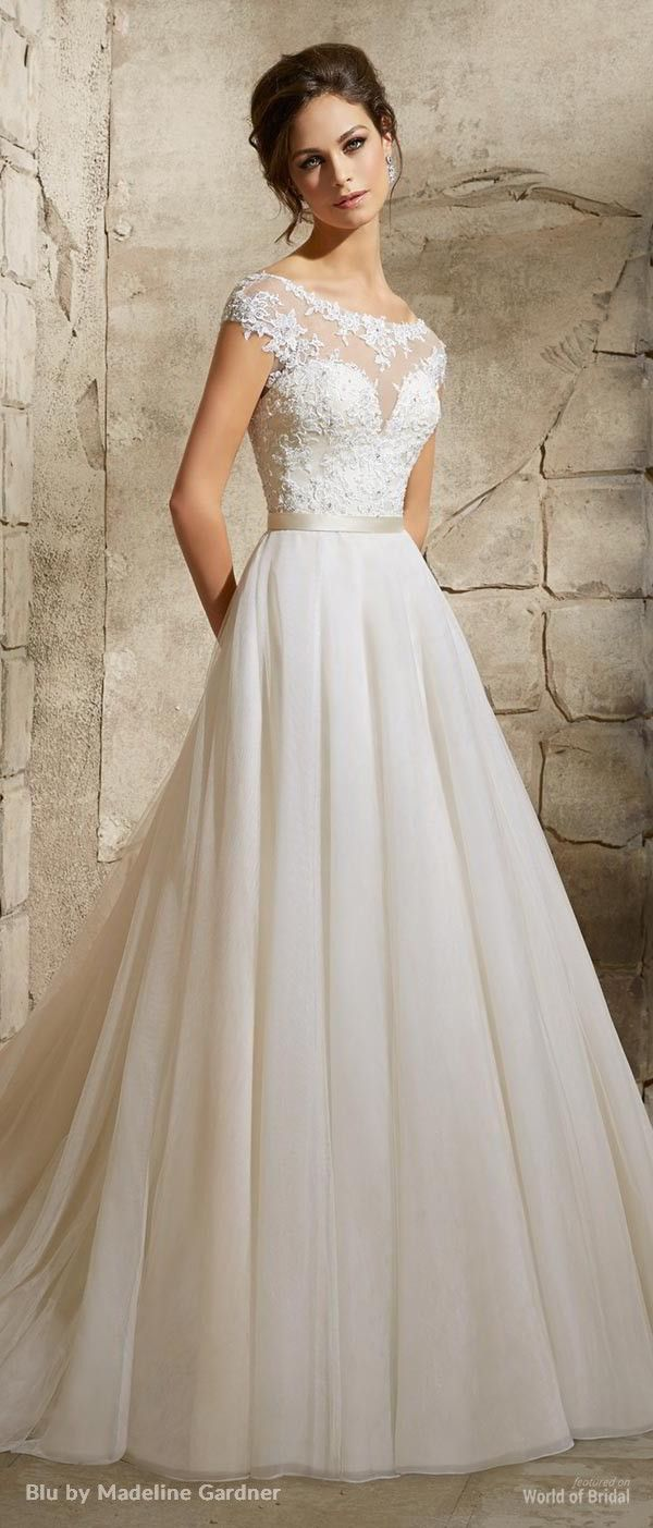 bateau wedding dress aline wedding dress Blu by Madeline Gardner Wedding Dresses