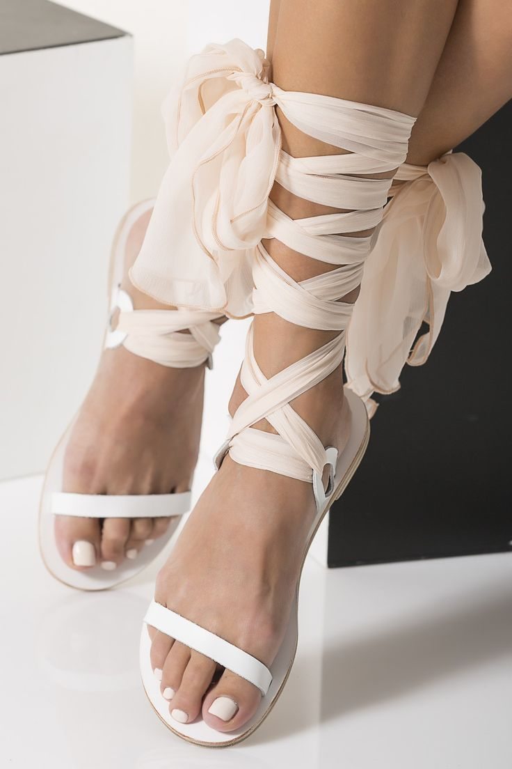 wedding shoes wedding sandals Nude Bridal Sandals with silk laces Customizable Agape