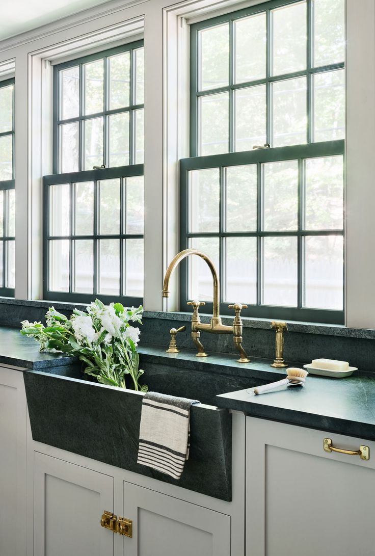 antique hardware unlacquered brass kitchen faucet Rafe Churchill Soapstone sink Waterworks unlacquered brass Easton Faucet Farrow Ball Dove
