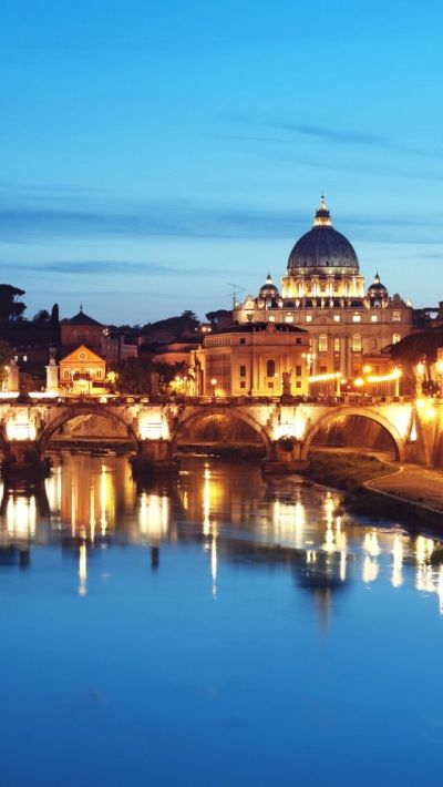 St. Peter's Basilica At Night, Rome Italy iPhone 5 wallpapers, backgrounds, 640 x 1136 | TRAVEL ...