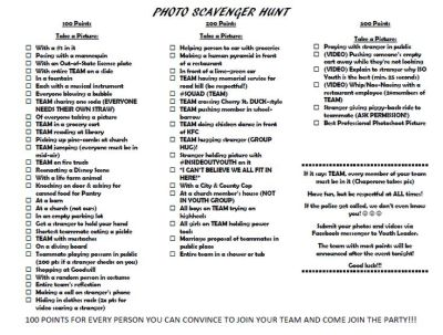 PHOTO SCAVENGER HUNT! Our youth group had a BLAST. We split into teams and each team had to do ...