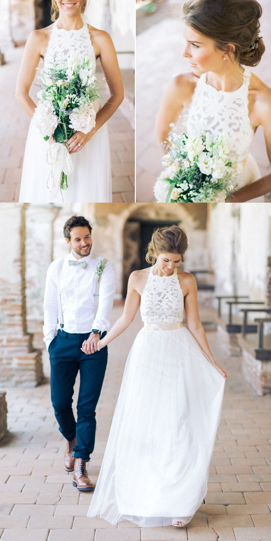 wedding dress simple wedding gowns Simple Jewel Sleeveless Floor Length Chiffon Lace Top Wedding Dress with Bow