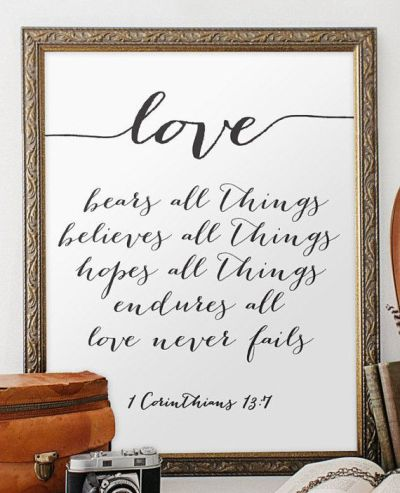 Wedding quote from the bible verse print wall art decor ...