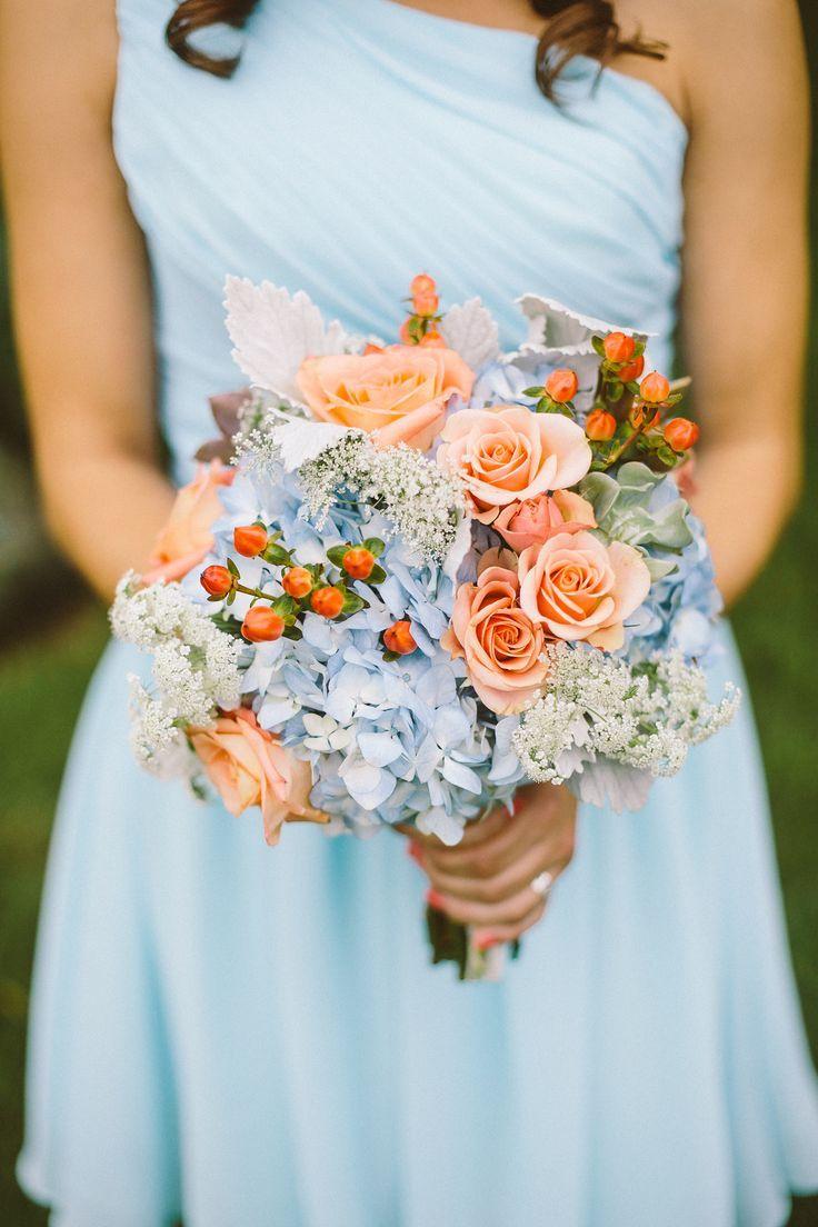 light blue wedding dress light blue wedding dress Light blue bridesmaid dress with blue and peach bouquet