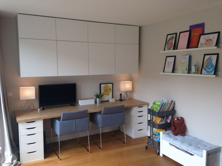 home office and kids area besta cabinets alex desk with ikea worktop farrow u0026 for o