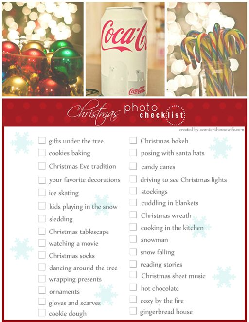 a content housewife: Christmas Photo Checklist: