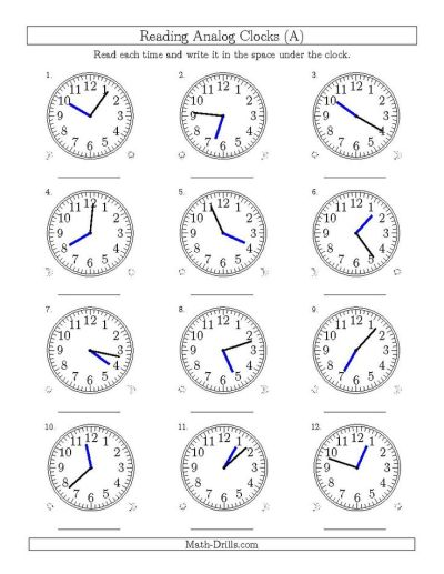 Reading Time on 12 Hour Analog Clocks in 1 Minute Intervals (A) | Math | Pinterest | Math ...