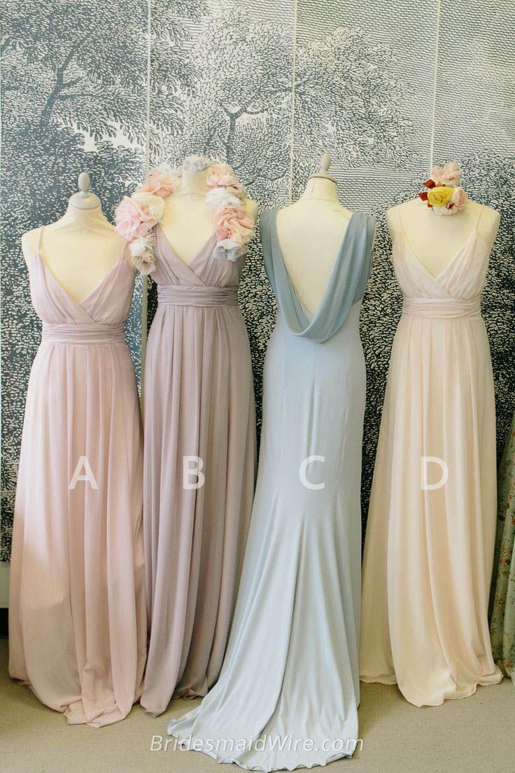 bridesmaid dresses bridesmaid wedding dresses Muted Color Vintage Low Cut V Neck Long Chiffon Bridesmaid Dress