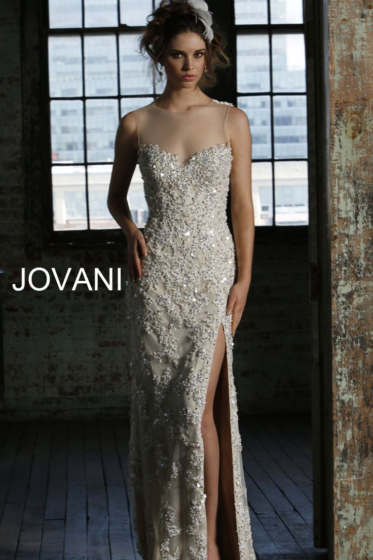 jovani bridal collection jovani wedding dress Jovani sexy beaded wedding long dress features a beautiful sheer illusion neckline sexy beading embroidery throughout bodice and a sexy slit at the skirt