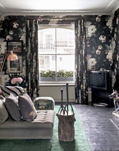 25+ best ideas about Black floral wallpaper on Pinterest | Wall paper bathroom, Nursery ...