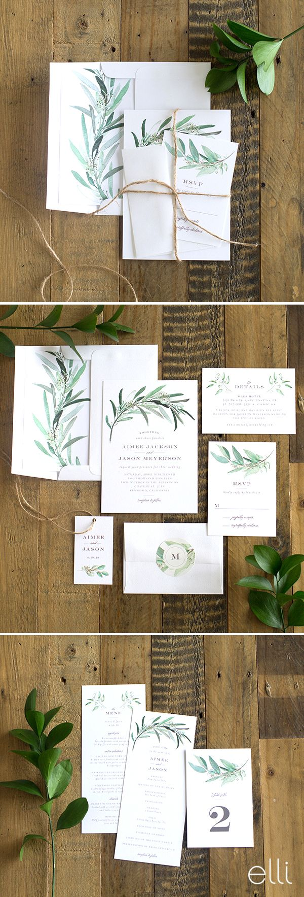wedding invitation suite wedding invitation suites Gorgeous lush greenery wedding invitation suite