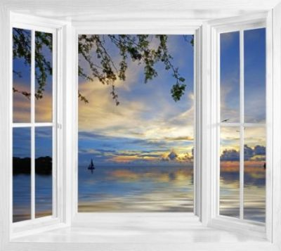 Tropical window murals - WIM157 - Sunset At Jeremi Beach On Curacao peel and stick window view ...