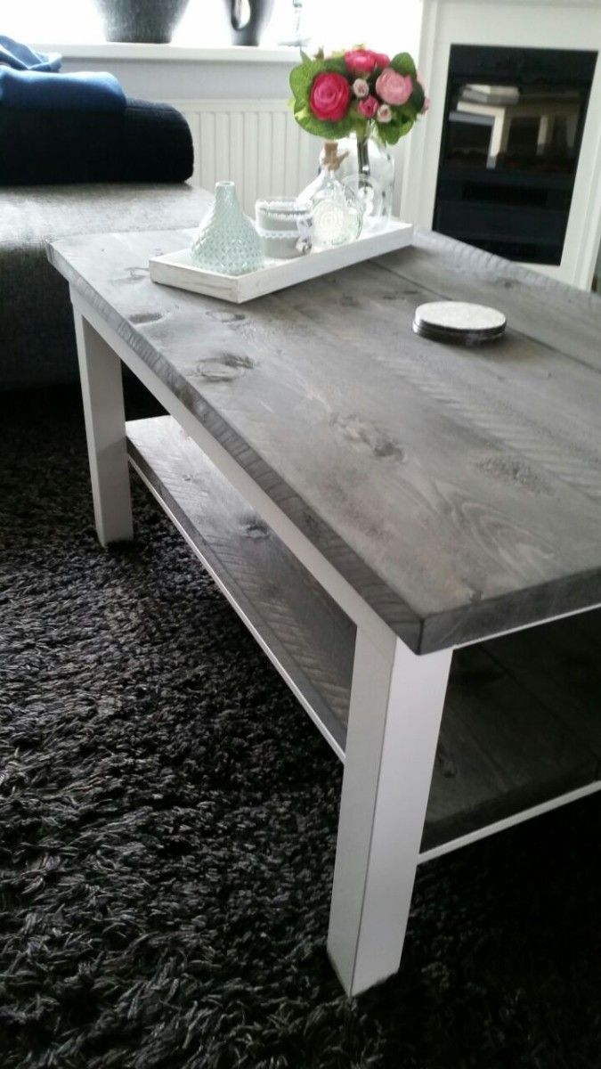 lack coffee table kitchen side table Lack coffee and side table with wood and light paint Peter van Rijn KURA