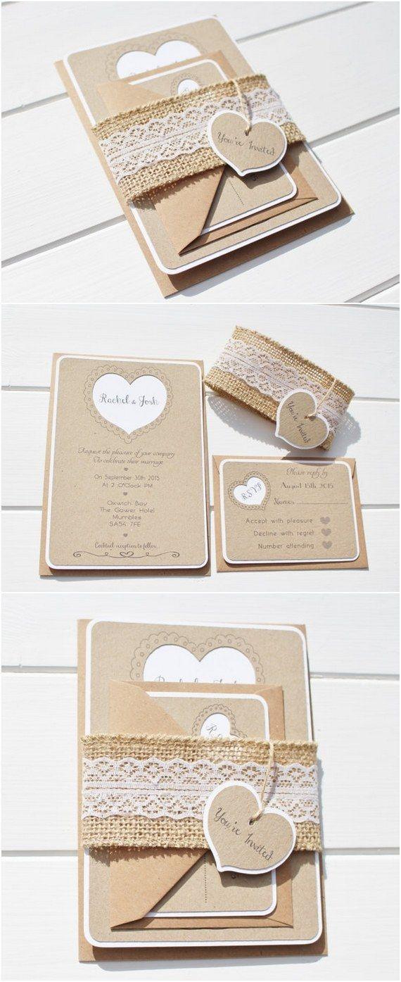 burlap wedding invitations wedding invitations 15 Rustic Wedding Invitations from Etsy