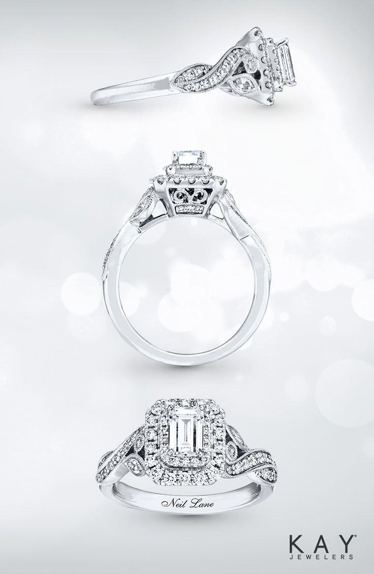 engagement rings kay wedding rings sets Milgrain detailing and vintage inspired style this engagement ring from the Neil Lane Bridal