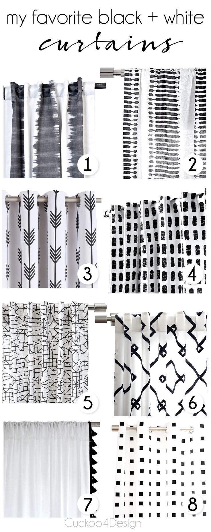 Exellent Black And White Curtains My Favorite Throughout Decor