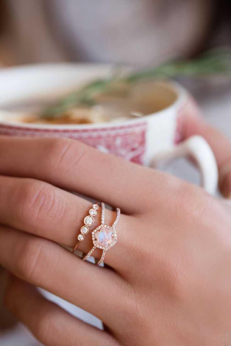 engagement moonstone wedding ring sets 14kt gold and diamond Double Band Moonstone Hex ring