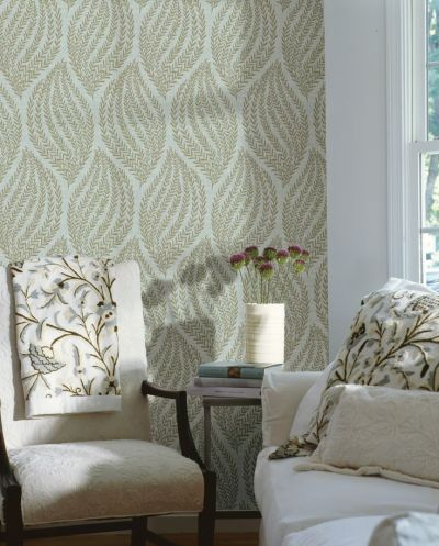 living room decor idea feature wall wallpaper contemporary leaves | Home | Pinterest | Feature ...
