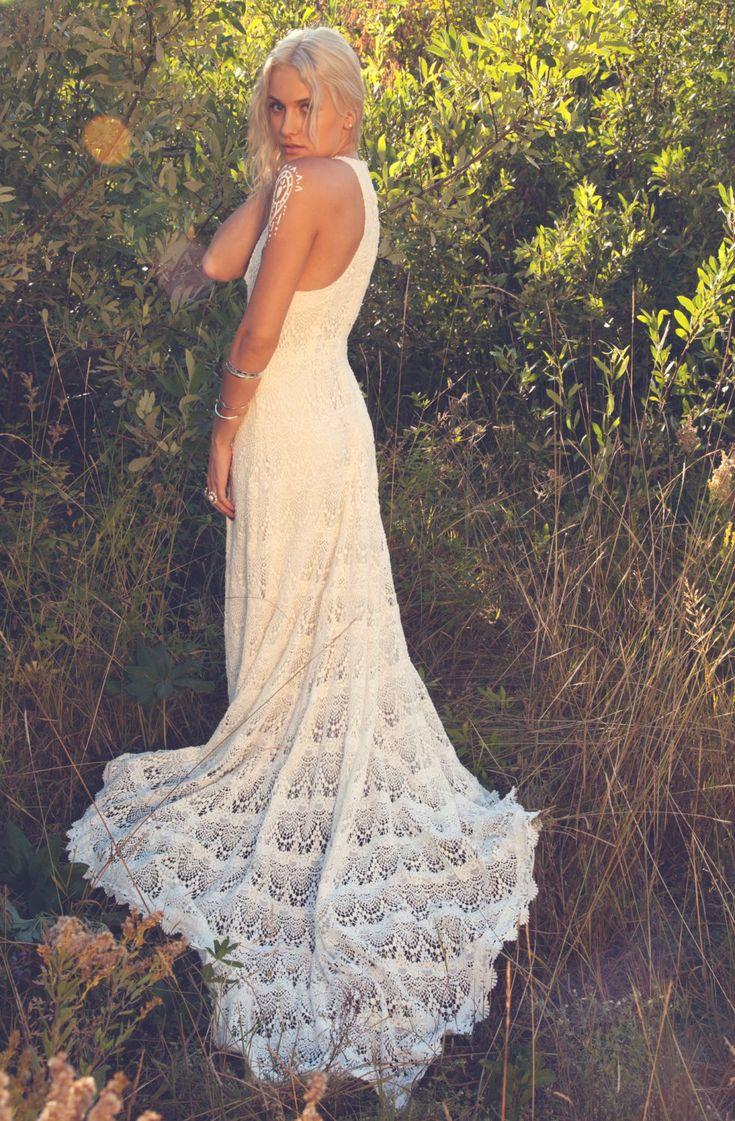 crochet wedding dress tank top wedding dresses Vintage Inspired Racer Back Wedding Dress Crochet Lace Tank Top Ivory Bohemian Gown Dylan