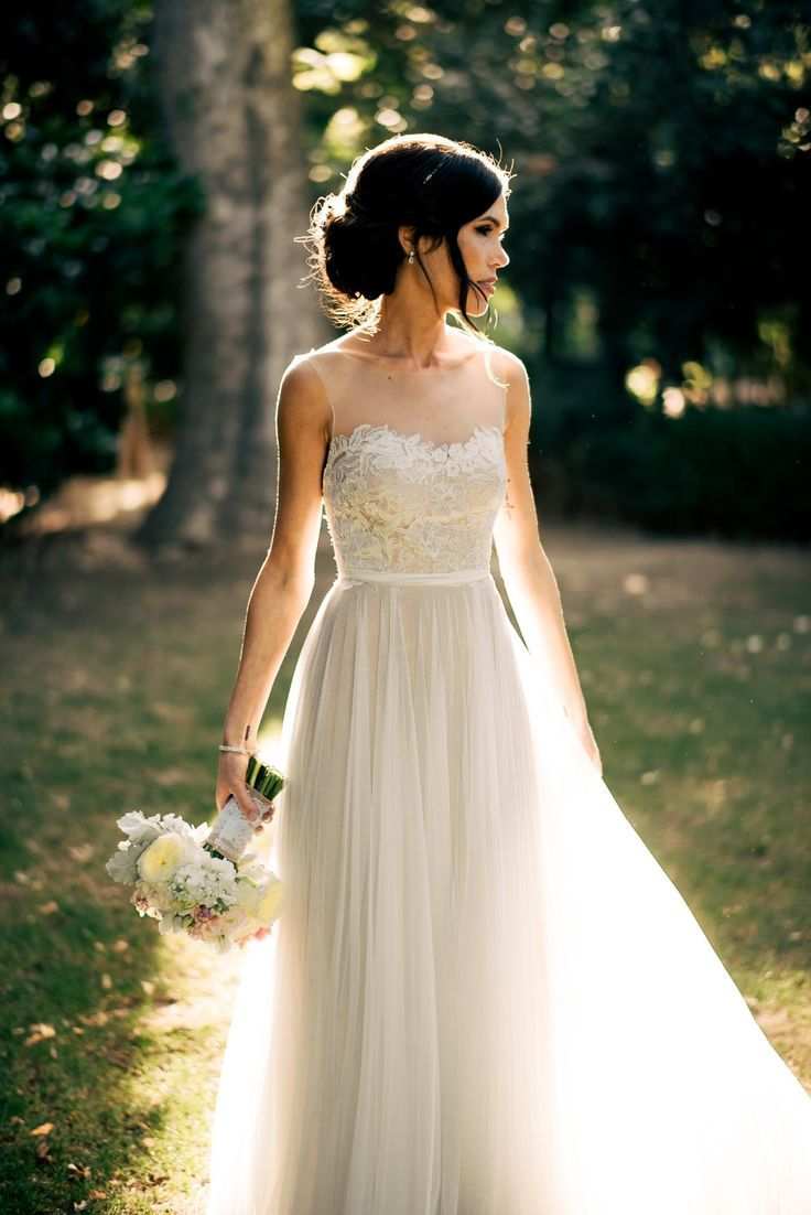 rustic wedding dresses country themed wedding dresses Romantic Open Back Tulle and Lace Wedding Dress