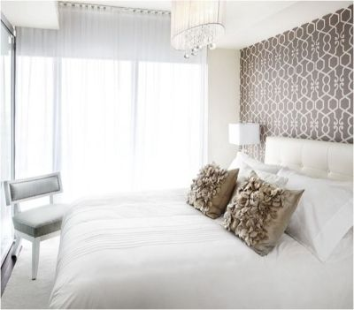 What to hang above the bed: Wallpaper or Stencil. A repeating pattern in wallpaper stands on its ...