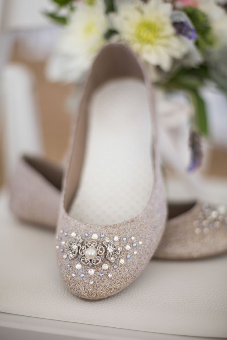 winter wedding shoes wedding slippers Embellished tan bridal flats Craig Hodge Photography Theknot com