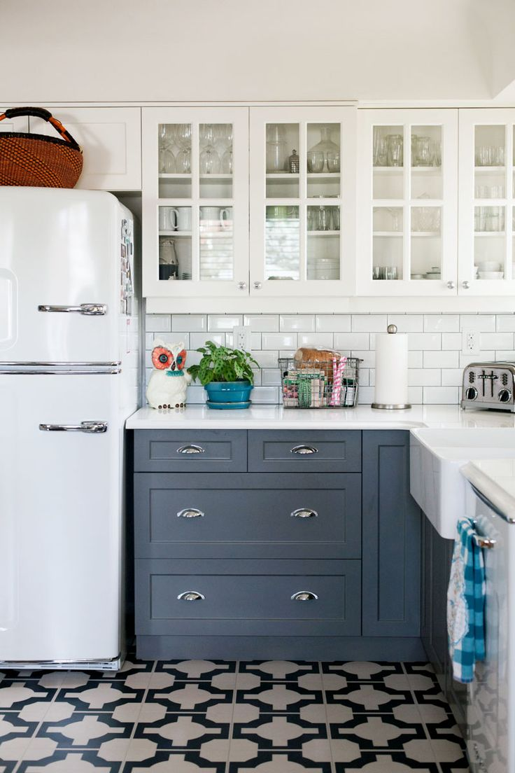 fabulous kitchens and bathroomsmostly using chalk vintage kitchen cabinets Kitchen with white cabinets gray cabinets patterned tile floor subway tile backslash and