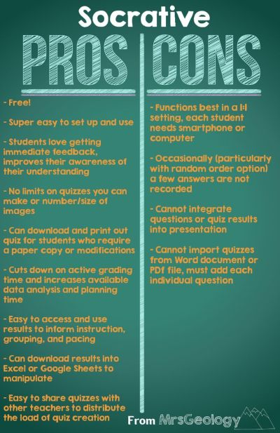 Socrative Pros and Cons (Hint: there are too many Pros to fit on this list!). Start a discussion ...