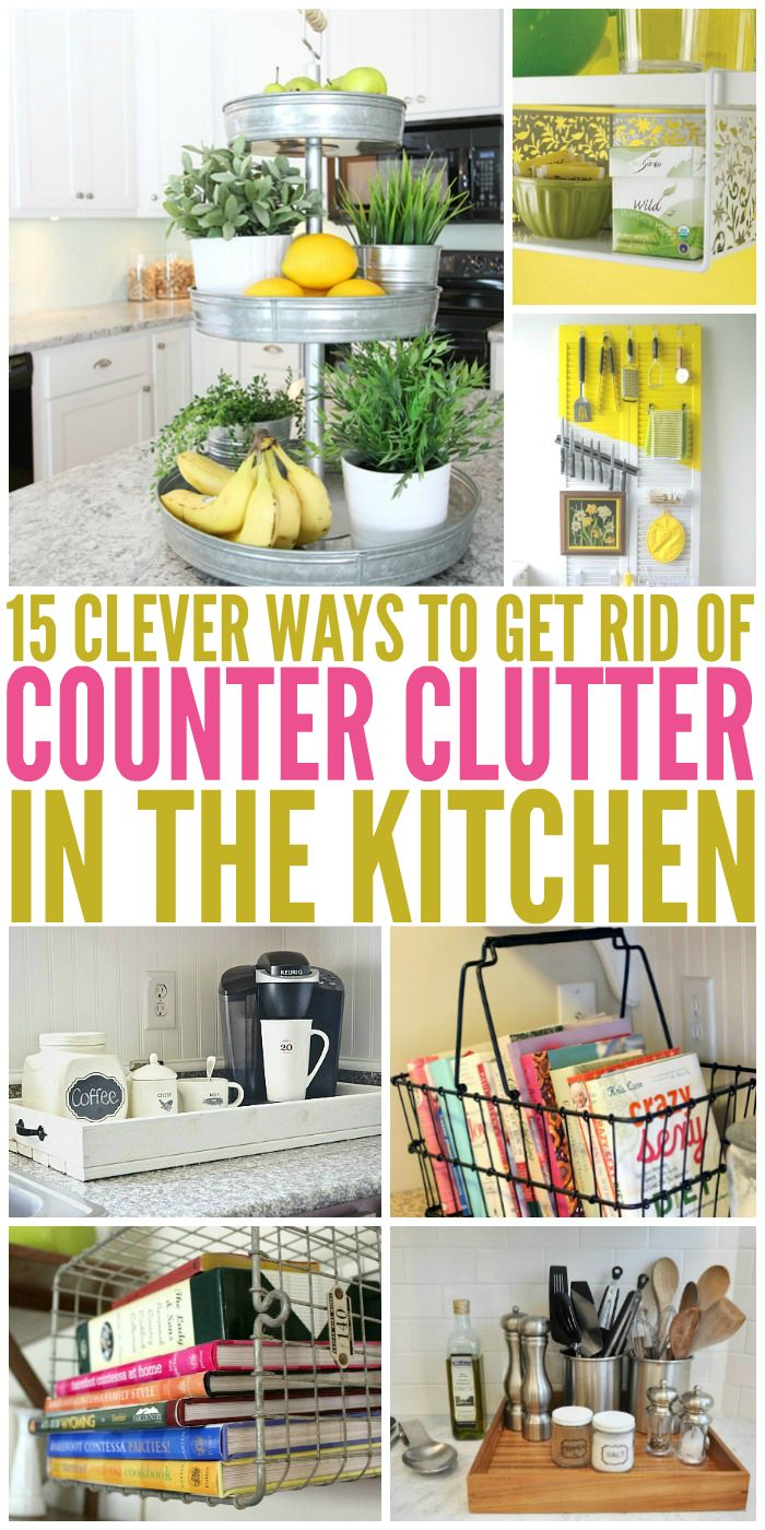 kitchen countertop options 15 Clever Ways to Get Rid of Kitchen Counter Clutter Kitchen hacks Ideas and Clutter