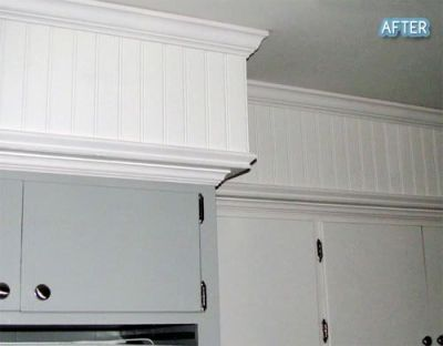 Sofit disguised with crown molding and beadboard. | Crafts and Decorating | Pinterest | Cabinets ...