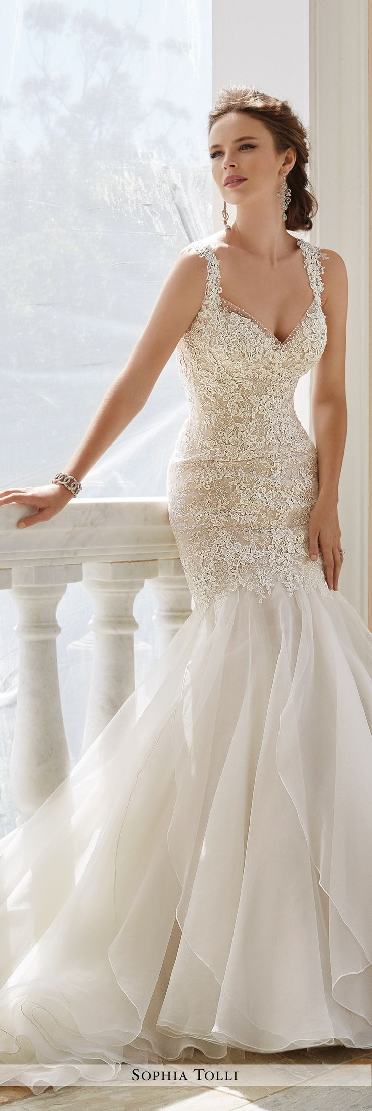 wedding dresses trumpet wedding dresses Sophia Tolli Fall Wedding Gown Collection Style No Y Aprilia sleeveless lace