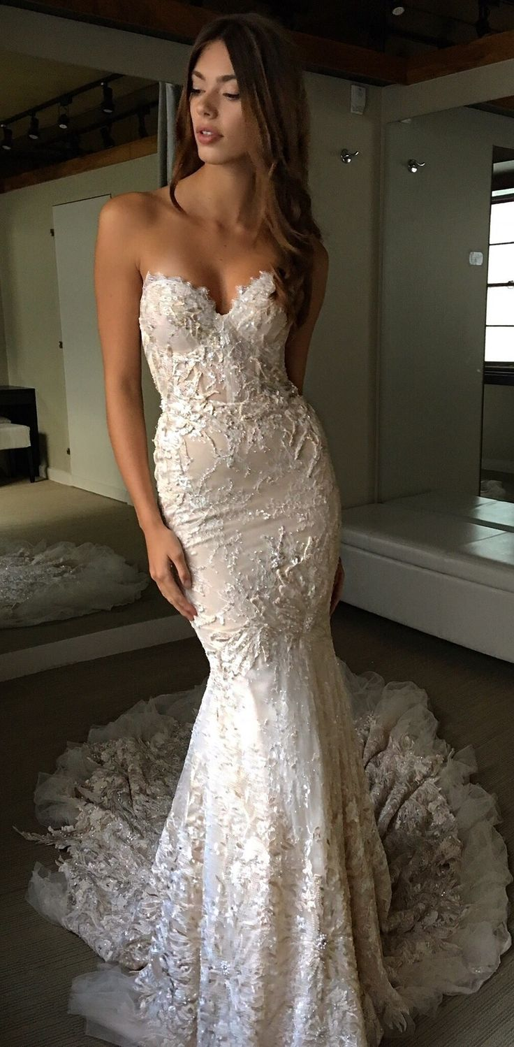 white lace wedding dress form fitting wedding dresses tyffiii Follow me on IG at stef s style for daily fashion Fitted Lace Wedding DressWedding Dress ShapesMermaid