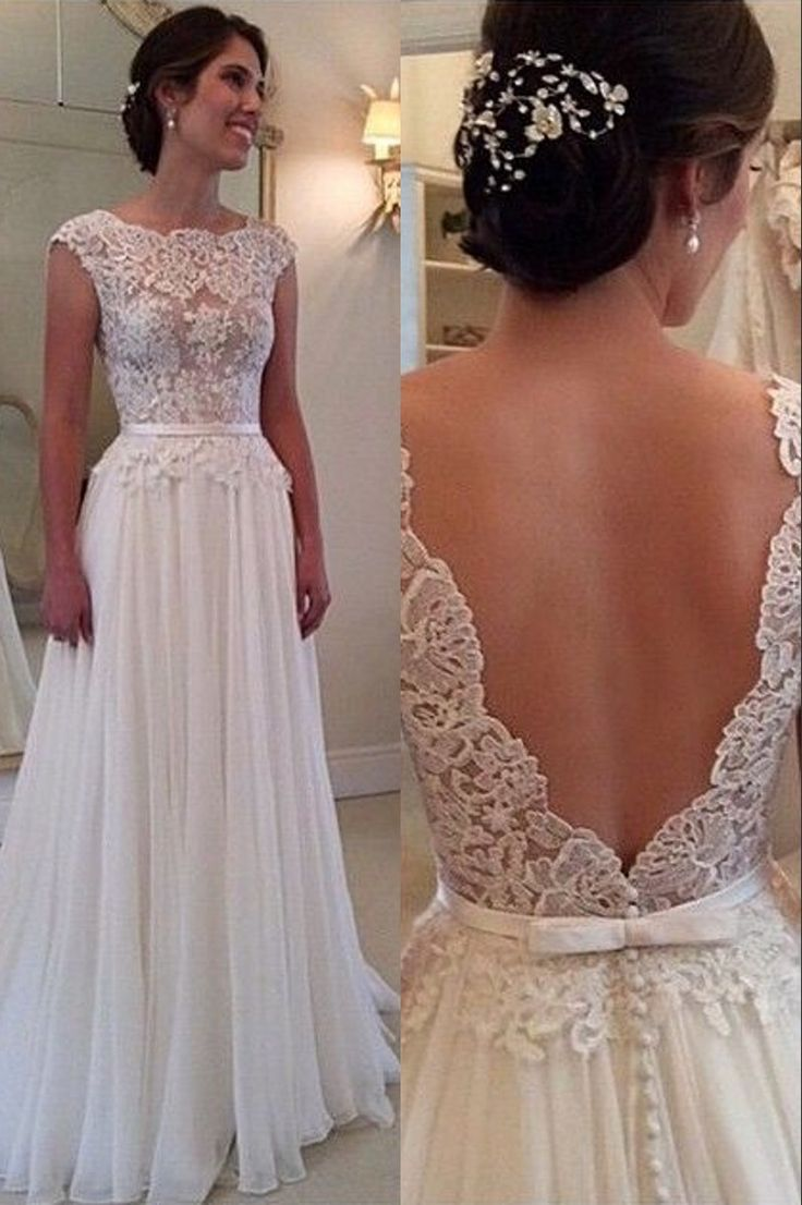 romantic wedding dresses summer dresses for wedding Ulass Lace Chiffon Backless A line Wedding Dresses Capped Sleeves Sweep Train Summer Bridal Gowns