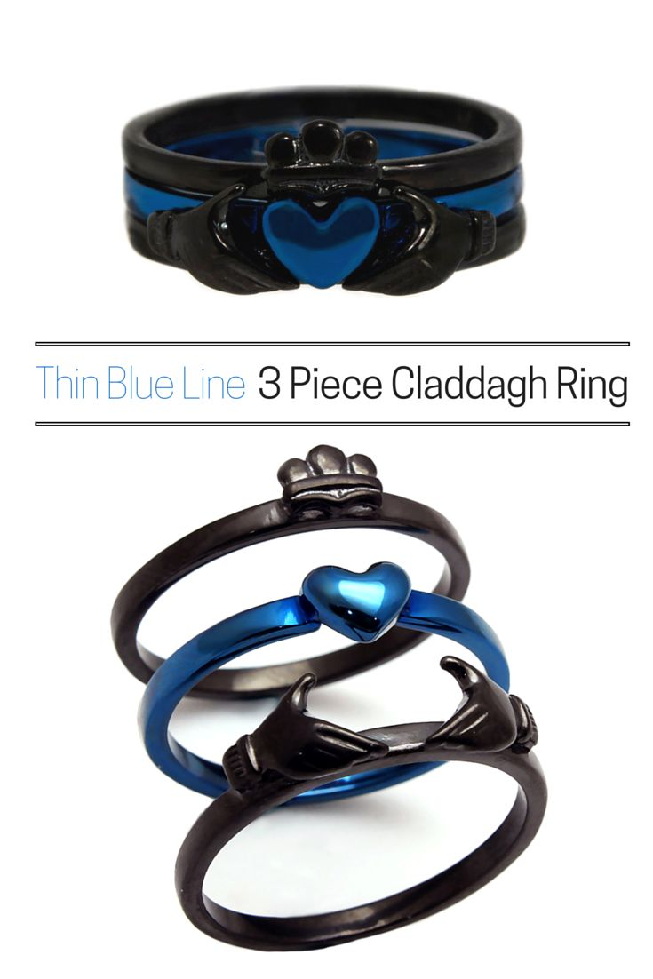 police wife ring police wedding bands The most versatile claddagh ring Can be worn all together or in any combination of