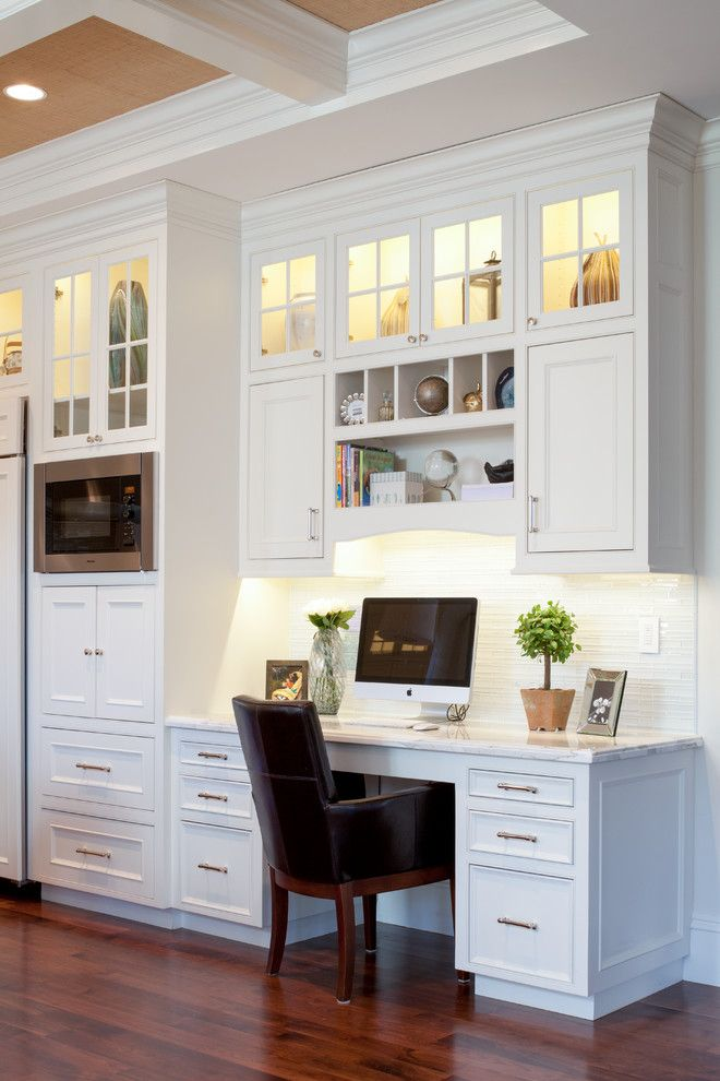 Kitchen Desk Cabinet Traditional With Clerestory Cabinets Coffered Ceiling  F