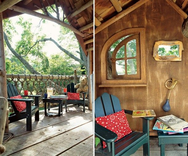 a backyard treehouse inspired by hobbits